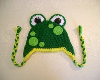 READY TO SHIP - 5 Years to Small Adult Size - Mr Frog Crochet Hat - Winter Hat or Photo Prop