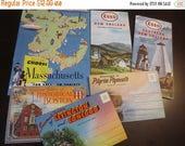 30% OFF SALE Vintage Massachusetts Paper Ephemera Travel Brochures Esso Maps Tourist Travel Postcards Souvenir Folders Lot of 6