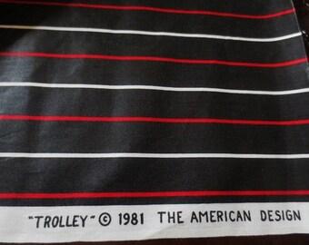 Schumacher Stripe Cotton Chintz Fabric Yardage Vintage 1981 Black Red White Trolley Pattern