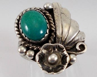 Vintage Detailed Native American Sterling 925 Turquoise Squash Blossom Applied Flower and Raindrop Ring Size 6
