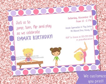Gymnastics birthday invitation, gymnastic party invite printable, gymnastics invitation, girl birthday invite, girl birthday party