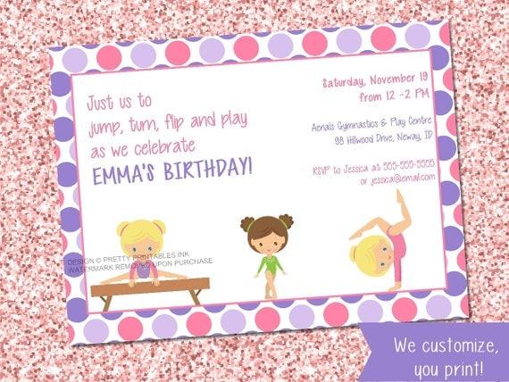 Gymnastics Birthday Invitation Gymnastic Party Invite Printable