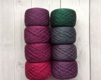 Mulberry silk 100%,handdyed yarn, hand painted. Moss and berry. 400g.