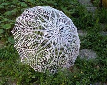 Crochet White Umbrella, Wedding  Parasol, Umbrella Sunshade, Victorian Parasol, Wedding Photo Props, Bridal Umbrella, Photo Session Umbrella