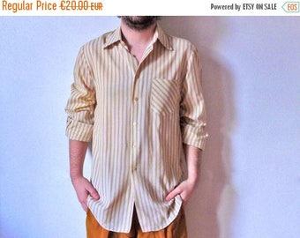 50%DISCOUNT 80s white golden tan striped long sleeved men shirt M