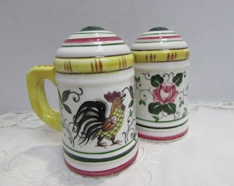 Rooster And Roses Salt and Pepper shakers - Ucagco China - Made in Japan - Roosters