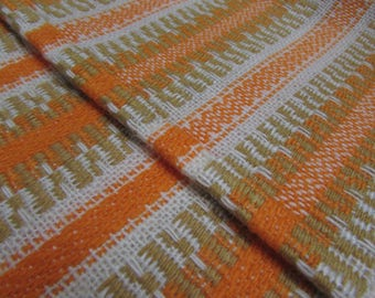 Vintage Table Runner - orange / white / beige - long woven tablerunner