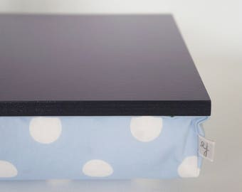 Sunday Slow breakfast in bed serving tray, laptop stand- dark plum purple tray with light blue and white polka dot Pillow