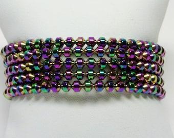 Rainbow Bracelet, Wrap Bracelet, Wide Bracelet, Rainbow Bead Bracelet, Handmade Bracelet