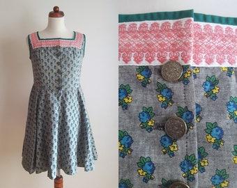Vintage Dirndl Dress - 1970's German Peasant Dress - Grey Dirndl Dress  - Size S