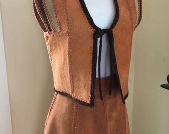 Vintage suede skirt and vest, leather skirt and vest