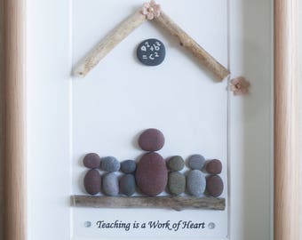 Pebble Art framed Picture - Teaching is a Work of Heart