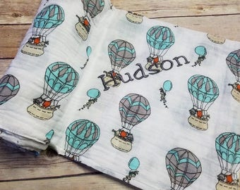 Personalized Baby Swaddle Blanket Forrest Animal Up Up and away Hot air Balloons Muslin Double Gauze 45x45 inches