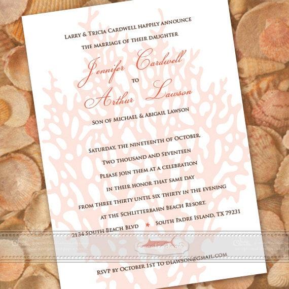Wedding Invitations Coastal Beach Coral Bridal Shower