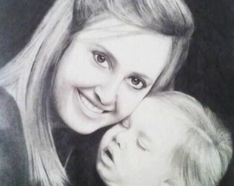 11x14 Custom portrait sketch, multi-subject