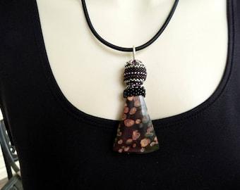 Plum Blossom Jasper Bead Weaving Pendant Necklace Black Rose Green INBW