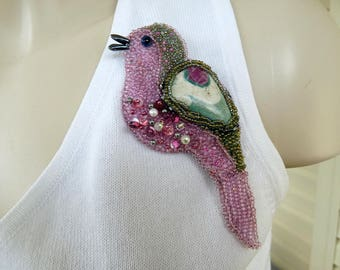 Ruby in Fuchsite Bird Bead Embroidery Brooch Pin