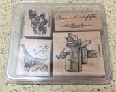 "Stampin' Up! Set of 4 Rubber Stamps ""Song Birds"" - Scrapbooking, Card Making, Paper Stamping"
