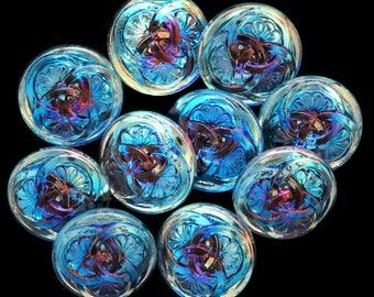 3 Czech Glass Buttons 3 Interlocking Fan Flowers Bright Blue Turquoise Flower Buttons