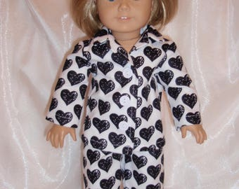 """18"""" Doll Black and White Heart Print Flannel Pajamas, 18"""" Doll Clothes, Boy Doll Clothes, Girl Doll Clothes, AG Doll Clothes"""