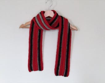 Chunky wool scarf - red, black and grey - stripey scarf - warm and cosy - wool and alpaca - natural fibres