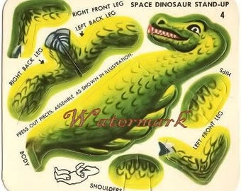 Vintage Space Dinosaur Toy Cut out Digital Download Printable Image for DIY