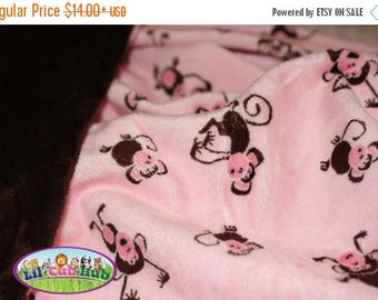 25% Off Adult Minky Blanket, Personalized Throw Blanket - Pink & Brown Monkey/Chocolate Brown Smooth (Can Be PERSONALIZED)