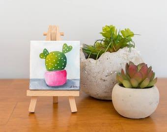 Cute Tiny Cactus Painting. Cactus Art, Small Painting, 3x3 Original Oil Painting, Cacti Painting Succulent Decor