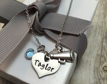 SALE Cheer necklace, hand stamped stainless steel necklace, girls necklace, cheer team,