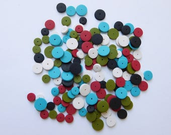 155 multi size disc beads, polymer clay spacer beads