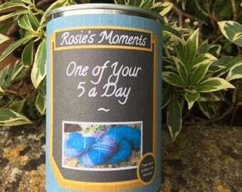 """One of your """"5"""" a day . Yarn in a can ' blueberrys """""""