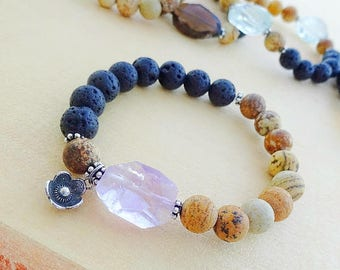 Essential oil diffuser bracelet, volcanic lava rock & jasper stretch bracelet, gemstone nugget, aromatherapy jewelry healing stones Otis B