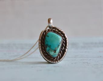 Vintage Navajo Turquoise Pendant Necklace - Sterling Rope Setting