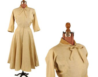 Vintage 1950's Anne Fogarty Tan Summer Linen Dolman Sleeves Full A-line Swing Skirt Party Dress S