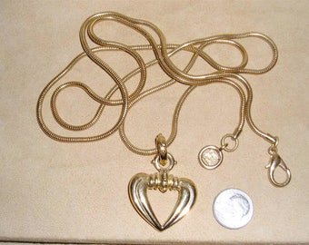 Vintage Signed Givenchy Gold Tone Heart Pendant On Snake Chain Necklace 1980's Jewelry 11260