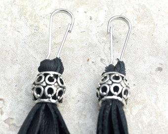 Zipper Pulls/ Set of Two/ Leather Tassel Accessory/ Leather Tassel Zipper Pulls/ Ready to Ship