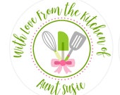 Baked With Love Labels, Baking Labels, Cookie Bag Labels, Canning Labels, Personalized Kitchen Stickers, From the Kitchen of SET OF 24 (803)