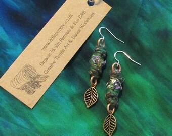 Leaf Earrings Gypsy Copper Dangle Woodland Forest Indian Jewellery Recycled Fabric Ear Rings Artisan Wire Wrap Jewelry Bohemian Festival