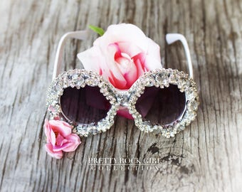 Oversized Large White Mod Circle Sunglasses, Jeweled Sunglasses, Retro Sunglasses, Embellished Sunglasses,  Crystal Sunglasses