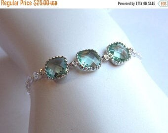 SALE Light Green Bracelet, Aqua Bracelet, Glass Bracelet, Erinite Sterling Silver, Wedding Jewelry, Bridal, Bridesmaids Bracelet, Bridesmaid
