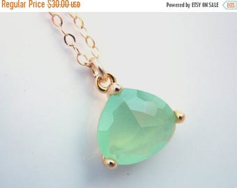 SALE Mint Green Necklace, Gold Filled Necklace, Mint Necklace, Glass Necklace, Pendant, Bridesmaid Jewelry, Bridesmaid Necklace, Bridesmaid