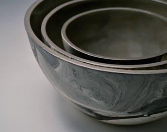 Porcelain Nesting Bowls -Marbled Black and White Ceramics. Modern Tableware. Unique. Urban Chic. Home Decor