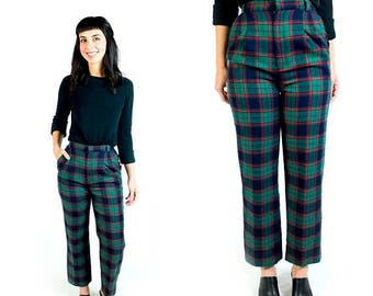 HOLIDAY SALE Vintage 1970s Kelly Green Navy Blue Red Wool Plaid High Waisted Ankle Crop Trousers // Fits Like Size XS Extra Small 24 25 Wais