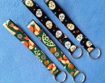 Handmade Duct Tape Keychain, sugar skulls or foxes and hedgehogs, upcycled duct tape key fob keyring keychain