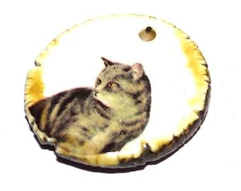 Ceramic Cat Pendant Handmade Focal