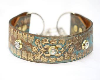 """Gold Martingale Leather Dog Collar, Turquoise Leather Martingale Collar , Greyhound Leather Collar, Made in USA, Size Large 15"""" - 16"""" inches"""