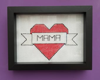 Mama Retro Heart cross stitch // Framed // 7x5