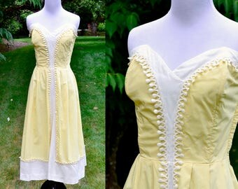 1950's Strapless Yellow Dress White Linen Trim / Vintage Cotton Sun Dress / Size 8