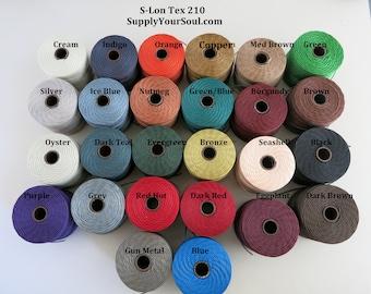 S-Lon Tex 210 Beading Cord, Kumihimo, Micro Macrame, Crochet Cord, 0.5mm Diameter, 77 Yard Spool, Choice of Colors
