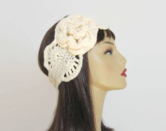 Cream Crochet Headband Cream Headband with Flower Cream Ear Warmer Beige earwarmer Cream knit head band cream headwrap crochet head wrap
